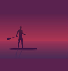 man on a sup board at sunset vector image