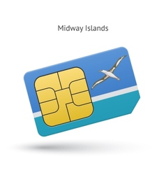 Midway Islands mobile phone sim card with flag vector image