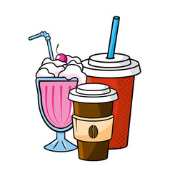 milk shake coffee and soda vector image