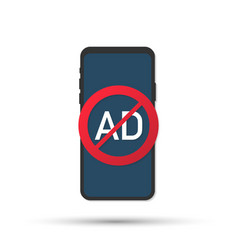 Mobile phone with ad blocker screen flat design vector