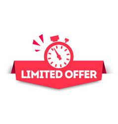 Modern red limited offer banner tag with watch vector