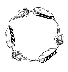 Monochrome circle frame of feathers vector