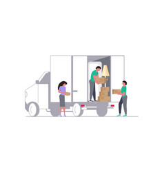 moving truck with movers and cardboard boxes vector image