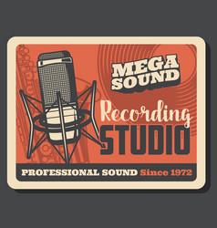 music studio microphone vinyl record saxophone vector image