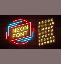 Neon light alphabet realistic extra glowing font vector