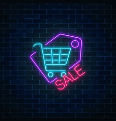 Neon supermarket sale sign with shopping cart in vector