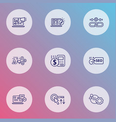 optimization icons line style set with seo guide vector image