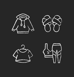 pajamas for home chalk white icons set on dark vector image