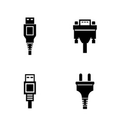 Pc plug connector simple related icons vector