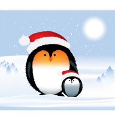 penguins Christmas vector image