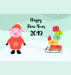 pig carries gifts on a sled happy new year vector image