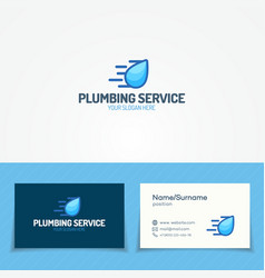 Plumbing service logo set with water drop vector