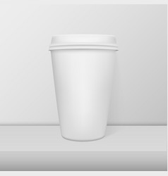 Realistic blank paper coffee cup white alarm clock vector