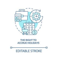 Right to accrue holidays blue concept icon vector