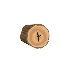 Rounded piece of wood annual growth rings vector