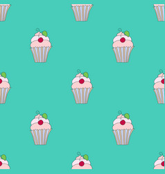 seamless texture cupcakes with cherry on vector image