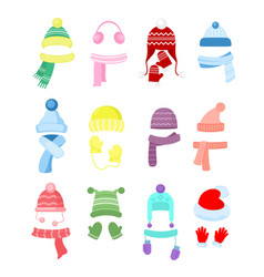set colorful winter or vector image