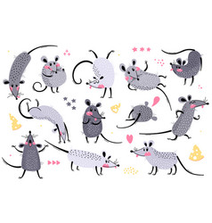Set funny rats for design cute little mice vector