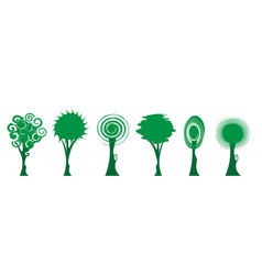 set green tree icons bio trees logo design vector image