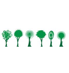set green tree icons bio trees logo design vector image