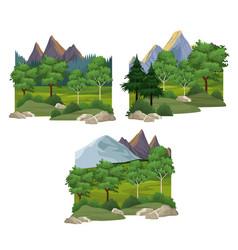 Set nature landscapes vector