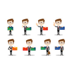 set of funny cartoon casual man in various poses vector image