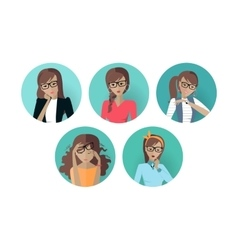 Set of Userpic of a Business Lady Woman at Work vector image