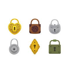 set of vintage locks cartoon vector image