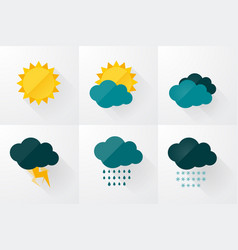 set of weather icons flat design vector image