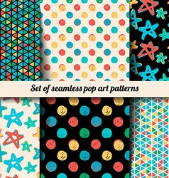 Set seamless patterns in the style of pop art vector