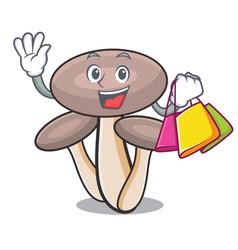 shopping honey agaric mushroom character cartoon vector image