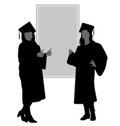 Silhouettes graduates vector