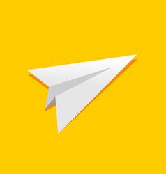 simple folded paper plane yellow design vector image