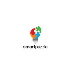smart puzzle logo design concept vector image