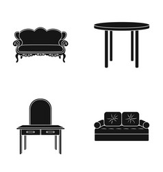 Sofa armchair table mirror furniture and home vector