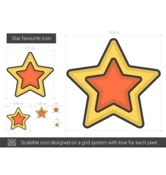 Star favourite line icon vector