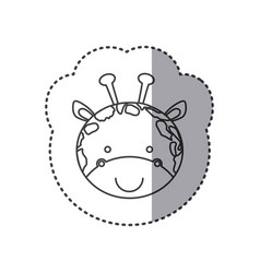 Sticker of grayscale contour with face of giraffe vector
