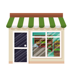 Store facade with fruits and vegetables in wooden vector