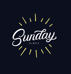 sunday vibes hand written lettering quote vector image