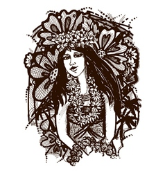 Tahitian girl vector