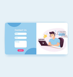 tech support landing page template with contact us vector image