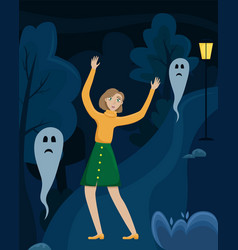 the frightened girl raised her hands in a dark vector image