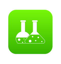 transparent flasks icon digital green vector image