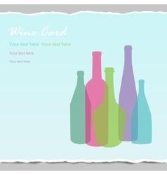 Transparent wine bottles on wrapped paper backgr vector