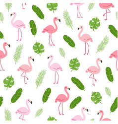 tropical pattern with flamingo vector image