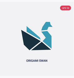 two color origami swan icon from animals concept vector image