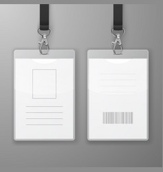 Two realistic blank office graphic id cards vector