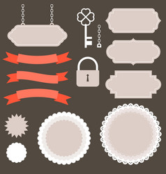 vintage labelsribbon and decoration set 2 vector image