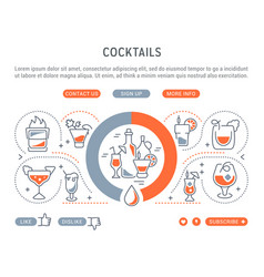 website banner and landing page cocktails vector image