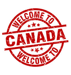 Welcome to canada red stamp vector
